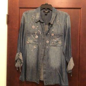 Denim embellished shirt